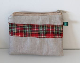 Purse beige coated man and Scottish Plaid - father's day or teacher gift idea
