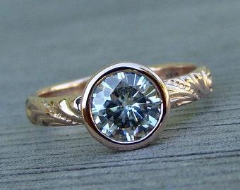 Moissanite Rose Gold Ring - Forever One G-H-I - Recycled 14k Rose Gold Engagement / Wedding - Patterned Band - Diamond Alternative - 1 Carat