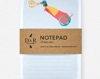 Flying dachshund cannon notepad - Let's do this! 70 Lined pages