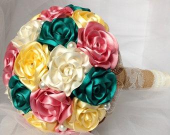 Ribbon Flower Bouquet, Wedding Bouquet