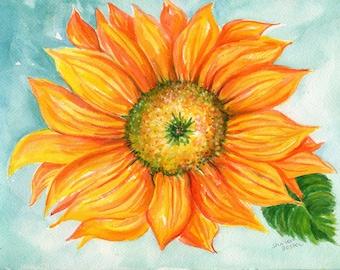 Sunflower watercolor painting original 9 x 12 sunflower decor, sunflower painting SharonFosterArt floral