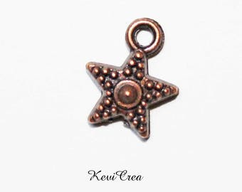 10 x copper metal star charms