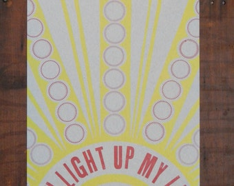 You Light Up My Life letterpress print on chipboard