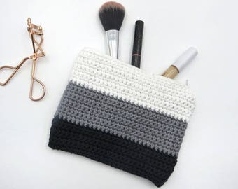 Cosmetic Bag Grey Hand Made | Cotton Bag | Toiletry Bag | Makeup Bag | Wash Bag | Travel Bag | Cosmetic Purse | Pencil Case | Gift For Her