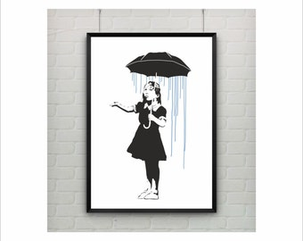 Long Way Home by Banksy Print / Graffiti Art / US Letter-A4 up to A0 size / Street Art / Wall Art / Contemporary Decor / Girl With Umbrella