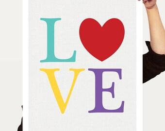 LOVE print, colourful art kids nursery art, love heart print, typography tyopocraphic print, love art, kids print, love sign, love artwork