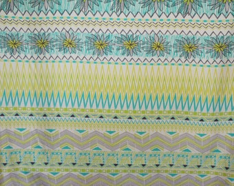 SPECIAL--Aqua and Yellow Whimsical Floral Panel Print Pure Silk Surah Fabric--One Panel