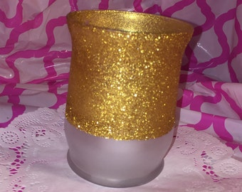 Frost and Glittered Candle Holder/Vase