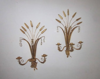 """Vintage Pair of 22"""" Italian Gilt Metal Figural Tole Wall Sconce Triple Candle Holders with Crystal Prisms"""