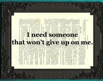 I need someone quote print typography love dictionary print