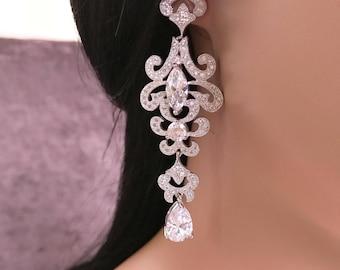 Silver CZ Bridal Earrings, Silver Wedding Earrings, Bridal Long Earrings Bridal Chandelier Earrings, Bridal Jewelry Bridal Filigree Earrings