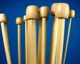Pair needles knitting bamboo number 8.0