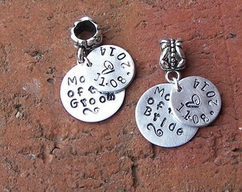Sterling, Hand stamped jewelry, personalized, personalized jewelry, European charm, custom charm,  mother of the bride/groom, handstamped