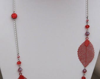 Leaves and Red bow tie necklace