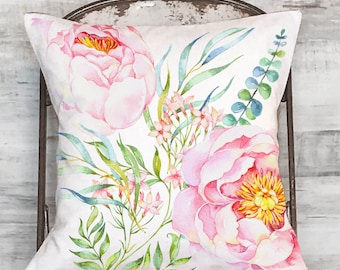 Pillow Cover Pastel Pink Peony Floral