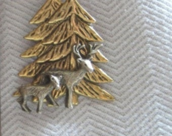 Deer and Fawn in Woods Pin - Antique Silver with Antique Gold Tree - Two Tone - Studio BZ Original