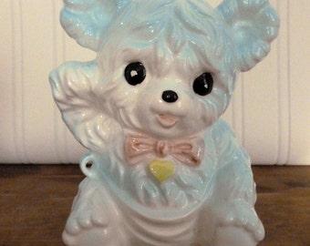 Vintage Ceramic Teddy Bear Planter - Nursery Decor - Teddy Bear Collectible