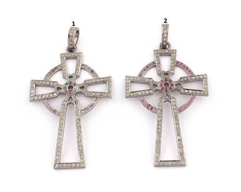 Memorial Day 1 Pc Designer Pave Diamond Multi Sapphire & Ruby Roman Cross 925 Sterling Silver  -Cross Pendant(You Choose)55mmx34mm PD1707