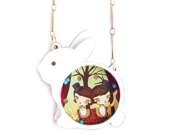 White Rabbit. Place the little balls. Necklace
