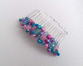 Pink and blue beaded hair comb bridal party prom formal ball bridesmaid