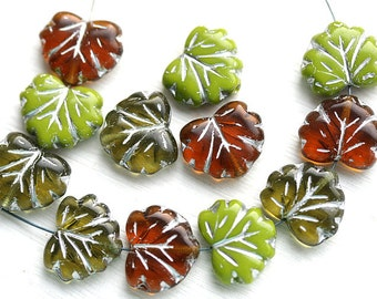 Leaf Beads Mix, Czech glass maple leaves, Green leaf, Olivine, Topaz - 11x13mm - 12Pc - 0048