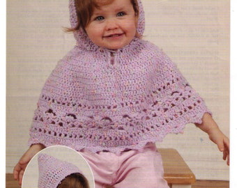 PDF Crochet Baby Poncho with Hood Ages 12 Months - 2 Years