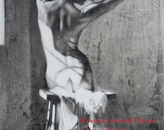 In the Sunlight, Strong,  Large Print of a  Charcoal Figure Drawing -