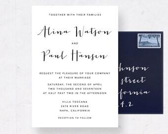 Wedding Invitation Suite, Printable Wedding Invite Set, Calligraphy Wedding Suite, Printable Invitation Suite, Wedding Invitation Cards
