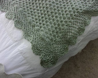 Hand Knit Baby Blanket in Honeycomb Pattern with hand Crocheted Edge - made to order