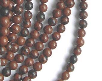 10 pearls 4 mm mahogany Obsidian stone