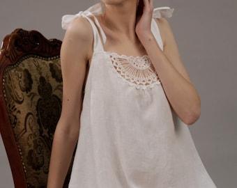 READY TO SHIP Size M / Linen White Short Night Gown With Crochet Front Detail/ Flax Nightwear/ Luxury Sleepwear/ Honeymoon Gown Linen
