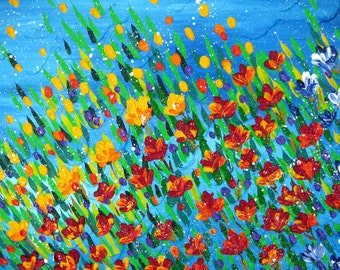 """textured painting, painting of poppies, textured flowers, palette knife art, painting with texture, painting with a lot of texture, 36""""x24"""""""