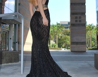 Black Mermaid Evening Gown/ Black Lace Gown/ Red Carpet/ Formal Evening Dress/ Ball Gown Prom Party Pageant/ Mermaid Evening Dress/