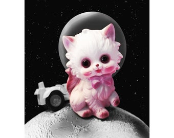 space kitten print 5 x 7 FUR FUR AWAY