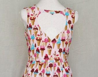Heart Cut Out Ice Cream Print Dress - Coney Island Dream, Pink, Womens Summer Dress, OOAK, Size Medium