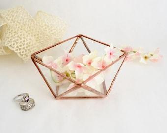 Glass Box, Wedding Gift, Wedding Ring Box, Glass Terrarium, Clear Glass Planter Geometric Box