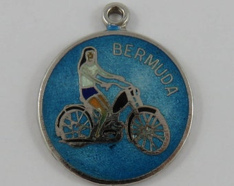 Enamel Bermuda Bicycle Ride Sterling Silver Vintage Charm For Bracelet