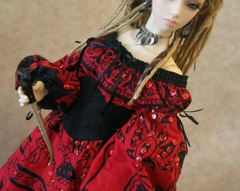 OOAK Wiccan/Medieval/Peasant dress for BJD Dollfie SD/63cm sizes