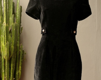 XS-S vintage black velvet party wiggle dress 1980s