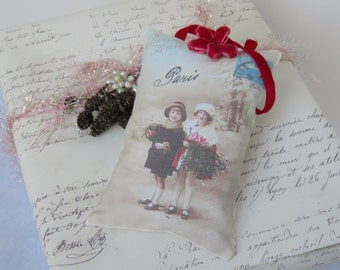 French Christmas Lavender or Christmas Tree Scent Gift Sachet, Red Velvet Ribbon and Flower, FREE USA SHIPPING, Gift Ready, Antique Postcard