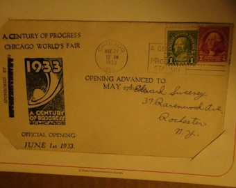 two 1933 Chicago worlds fair envelopes opening day post