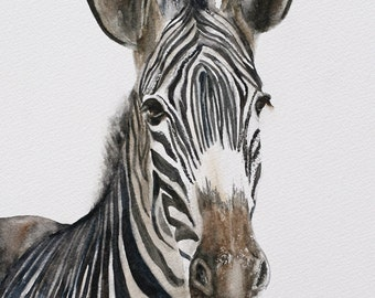 nursery art print zebra painting of zebra PRINT art zebra art print for him Africa Home Decor african wall hanging decor Watercolor painting