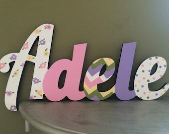 Custom Kids Name Sign - Nursery Wall Letters Name Sign - Wood Wall Letters Cursive Style 5 Letter Name