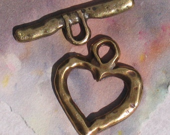 0800.101 Metal Necklace Toggle Clasp Heart Antique Gold 20x20mm