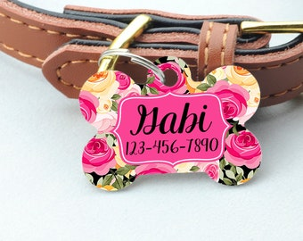 Personalized Pet ID Tag - Personalized Pet Tag - Custom Pet ID Tag - Floral Dog Name Tag - Dog ID Tag - Dog Collar Name Tag
