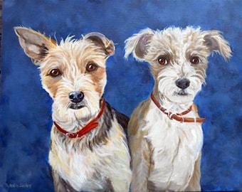 """Portrait with Two Dogs, Oils on Canvas, 18"""" x 24"""", Pet Portrait"""