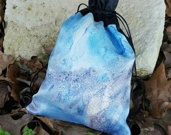 Something Blue Purse - Blue Bridal Purse - Silk Drawstring Bag - Bridal Toiletry Bag - Wedding Makeup Bag - Honeymoon Lingerie Bag
