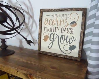 Woodland Nursery Decor - Woodland Nursery Sign - Woodland Baby Shower - Woodland Animals - Little Acorns - Baby Shower Gift - Acorn Quote -