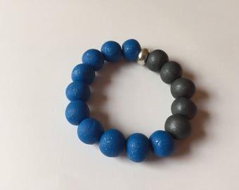 Handmade polymer clay bracelet, blue, silver