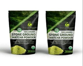 Premium Organic Matcha Green Tea Powder 3.5oz (100g) - 100% Natural - Stone Ground - Antioxidant Rich